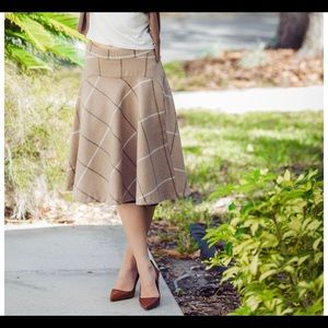ZARA BASIC |  Beige Plaid Wool Midi Skirt